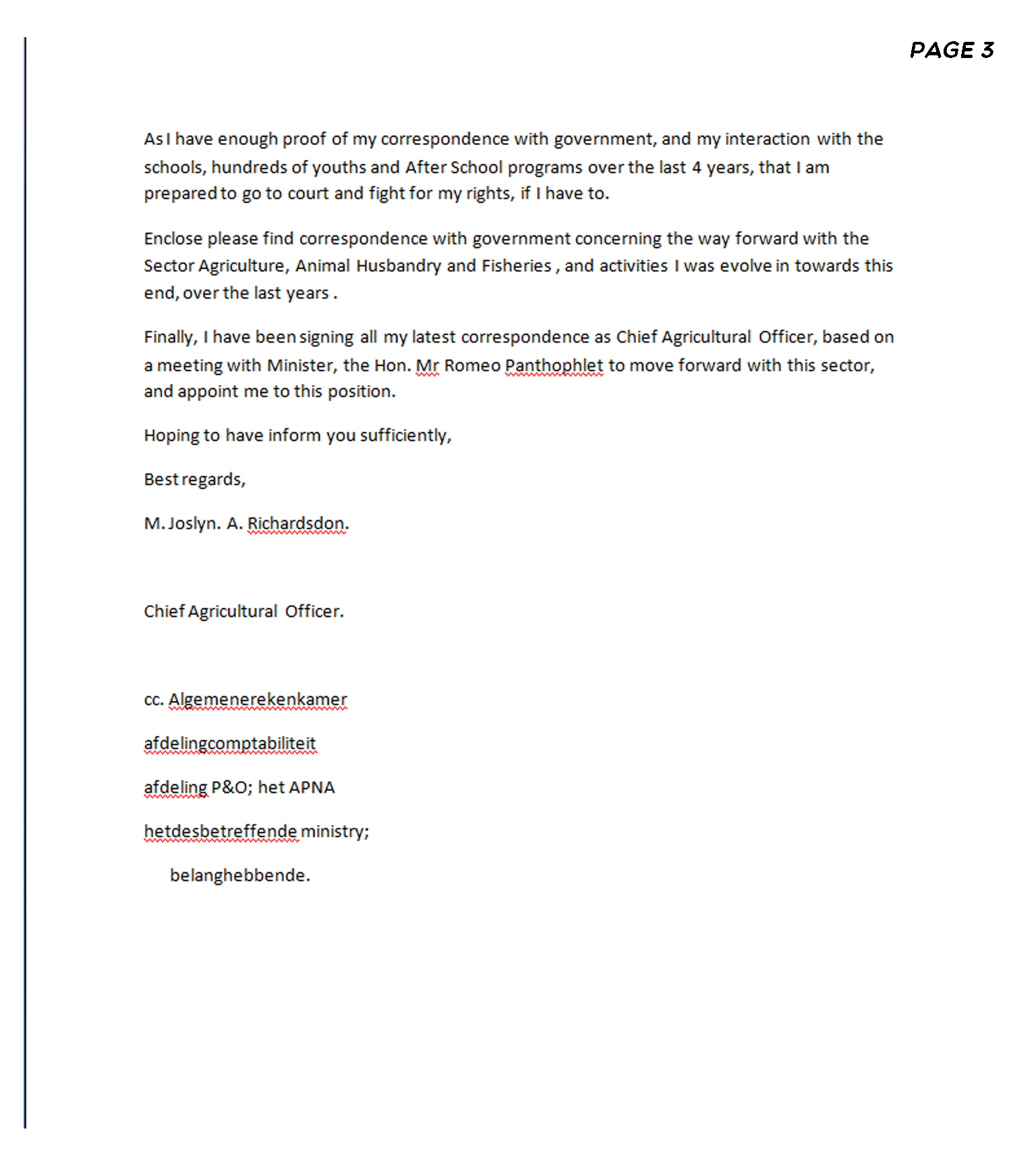 to the council of ministers page 3
